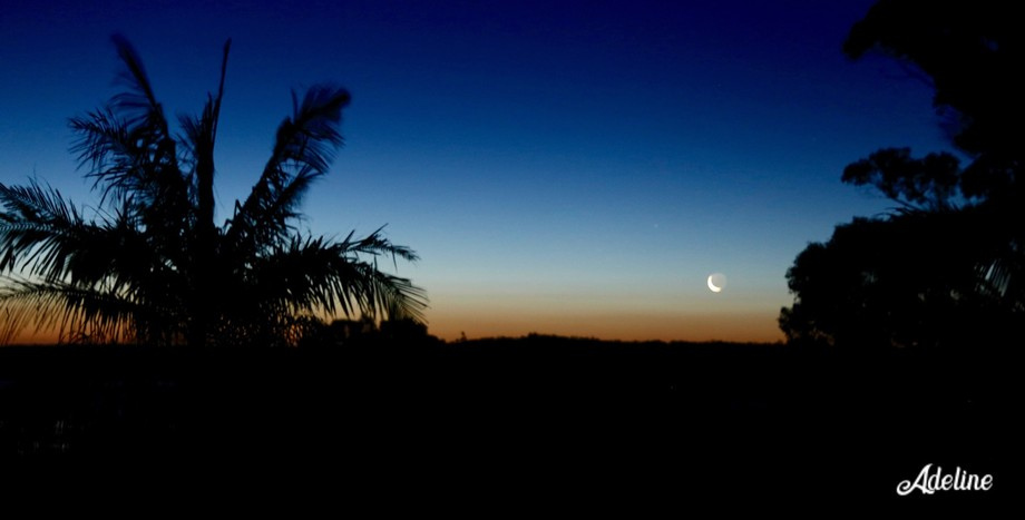 Sunset strsight off the SLR. No filters or editing. Sun has set and waxing crescent moon about to...