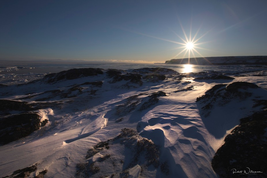 Winter sunset picture taken on the Labrador coast at Capstain Island