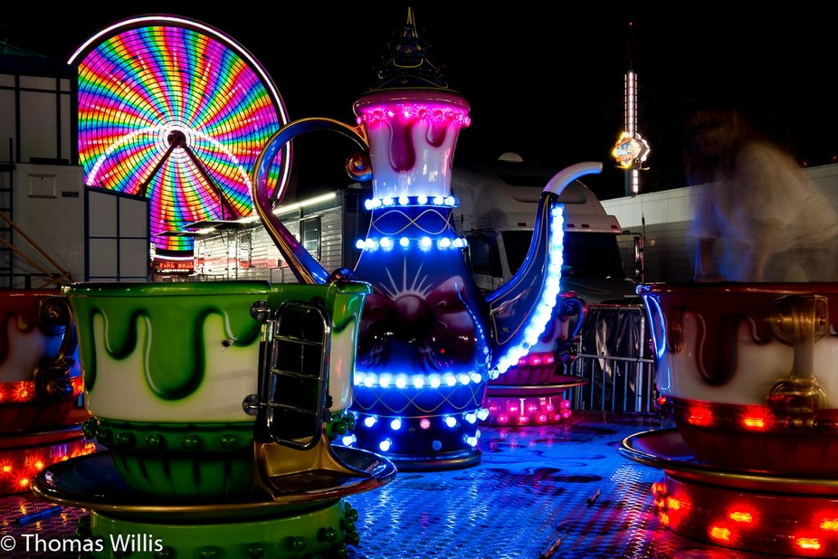 Colorful amusement park ride.