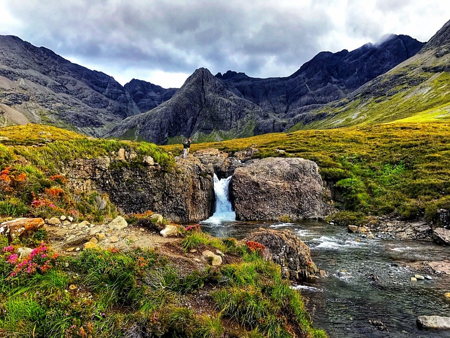 Visiting the Fairy Pools of Skye, Scotland.