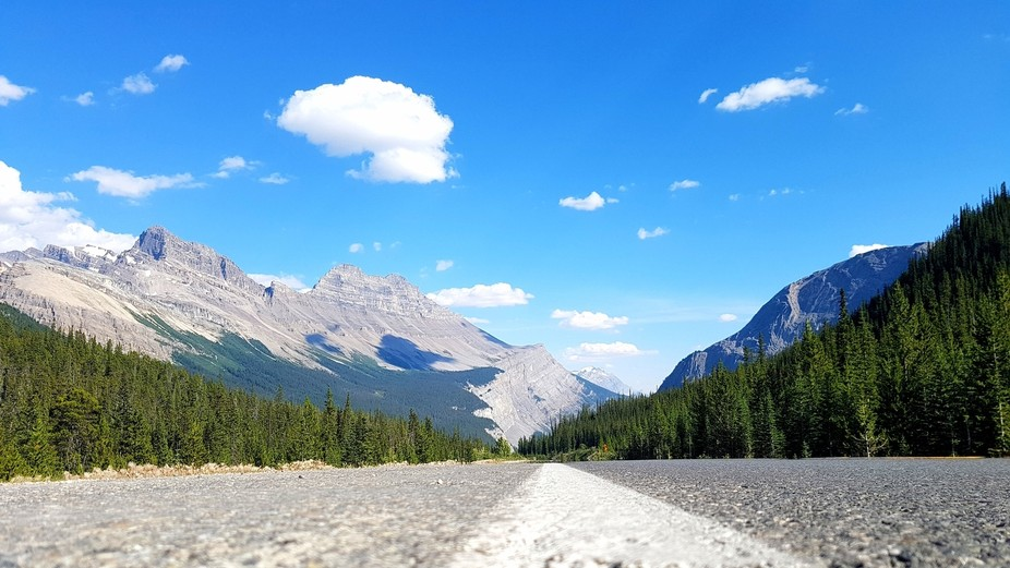 Shot from the road surface.  Canadian Rockies in Alberta Canada.