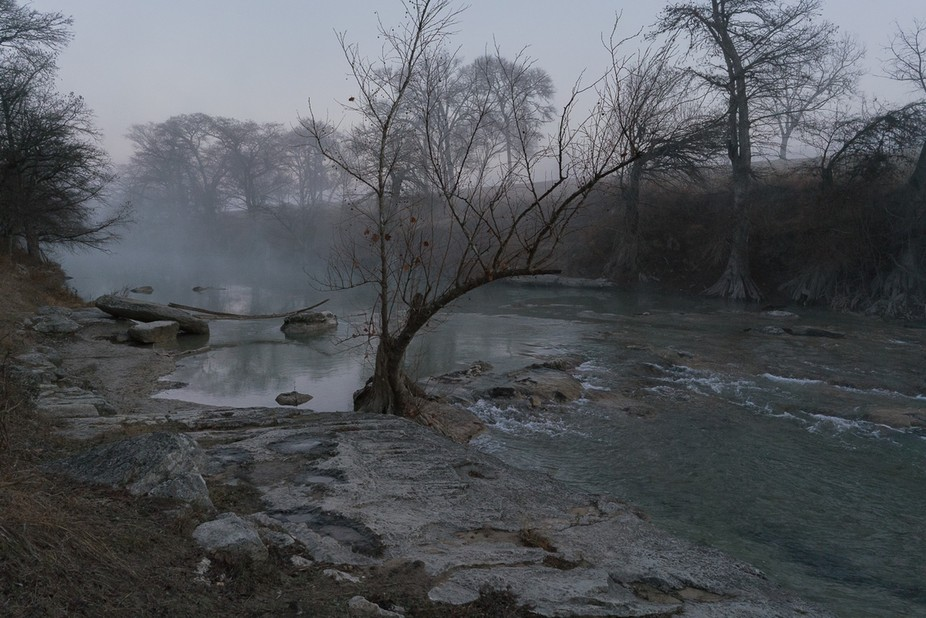 A cold, foggy winter morning along the Guadalupe River in Texas Hill Country