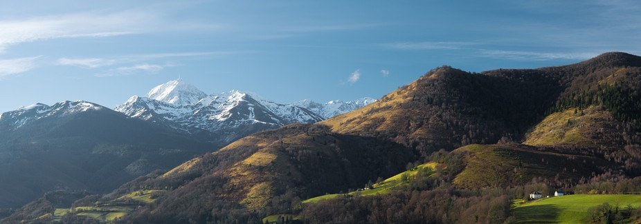 In France, in the Pyrenees, the Pic du Midi de Bigorre (South Peak of Bigorre) in a large panorama