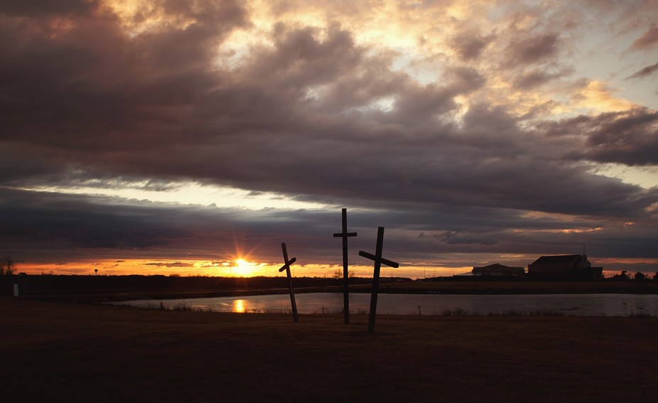 Winter sunset at church after storm