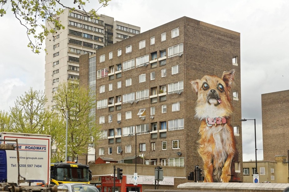 Good mural on a building London.