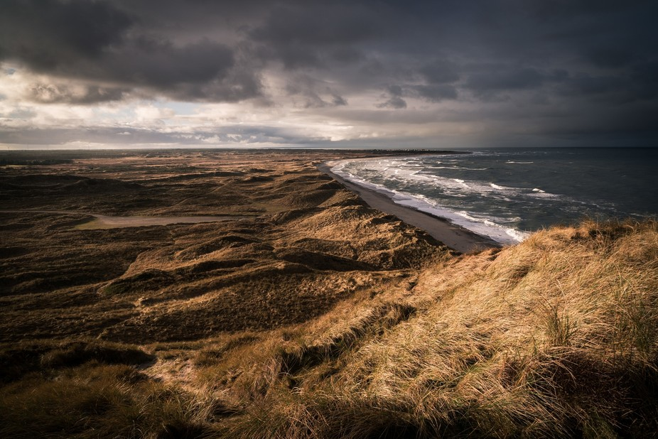 View from an old bunker at the shore in the north of Denmark. In the distance you can see the sma...