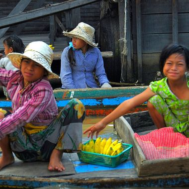Waterside scene in Cambodia at Tonle Sap Lake!