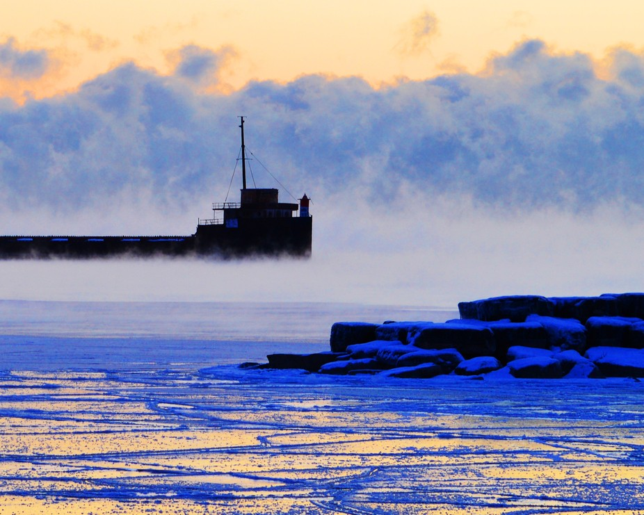 The mist hangs over Lake Ontario on a bitterly cold January morning.