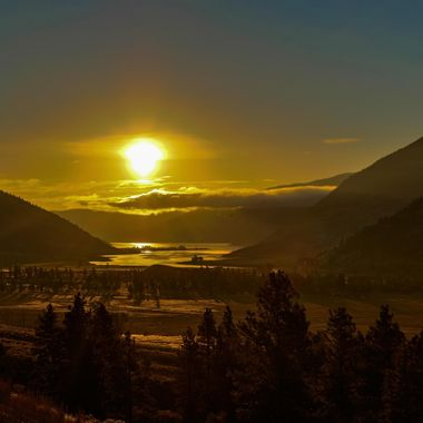 Sunrise over Nicola lake near Merritt British Columbia