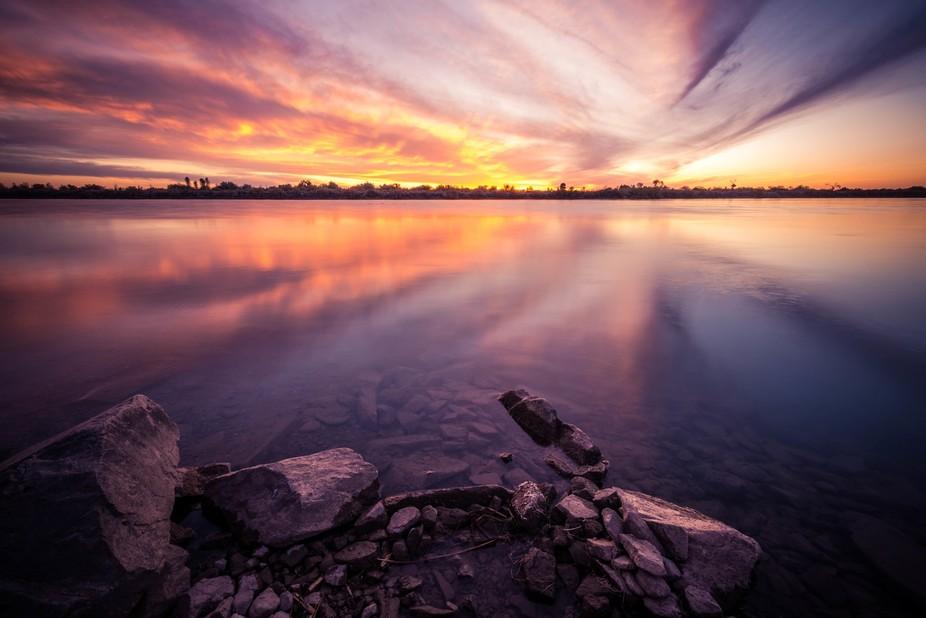 Sunset on the Colorado River, Ehrenberg Arizona
