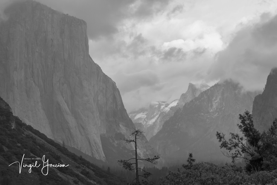 The Tunnel view at Yosemite is a favorite destination stop for photographers in the Park.  You never know what it will look like.  This is from a set of photos taken on an evening as a storm was moving out of the area.
