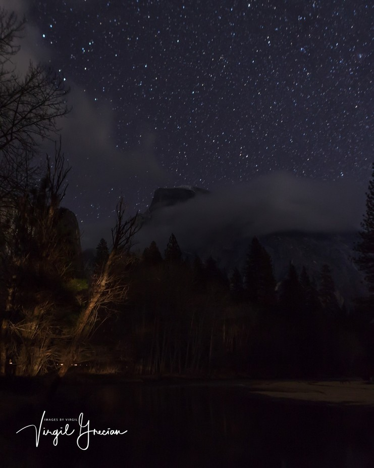 Half Dome at night with Cloudy Shoulders