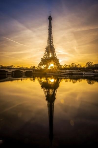 Sunrise on the Eiffel tower at Paris