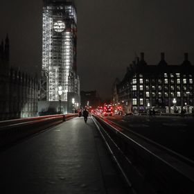 Night shot of a WIP Bigben from Westminster bridge, London.
