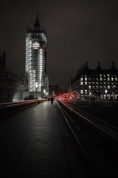 Night shot of a WIP Bigben from Westminster bridge, London.
