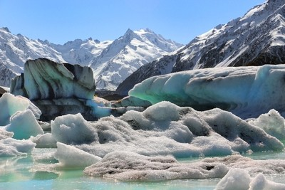 Icebergs at Mt Cook, New Zealand