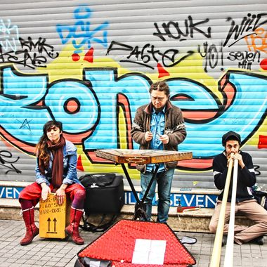This photo was taken when me and family were in Istanbul, in the year 2015. While we were walking along Istiklal Avenue I saw a group of people playing music. Also, the street art behind them also caught my attention. This is one of the photos that I took that day.