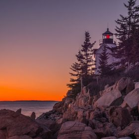 Bar Harbor Lighthouse in Maine during an amazing sunset