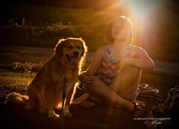 Two friends soaking up the sunlight at dusk.