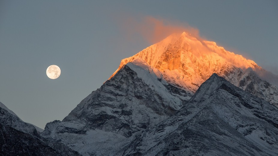 I was hiking to Everest Base Camp in Nepal during the first supermoon of 2018. I woke hip early o...