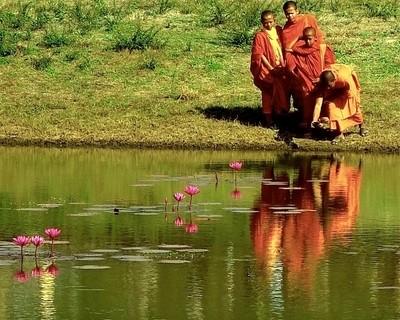 Young Monks Taking Selfies Angkor Wat, Cambodia