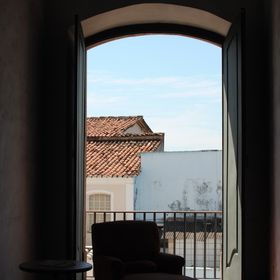 Here's why. It is at the amazing hotel convento in salvador,  bahia, Brazil. Very hot. Breezes, however, come through that door and waft ove...