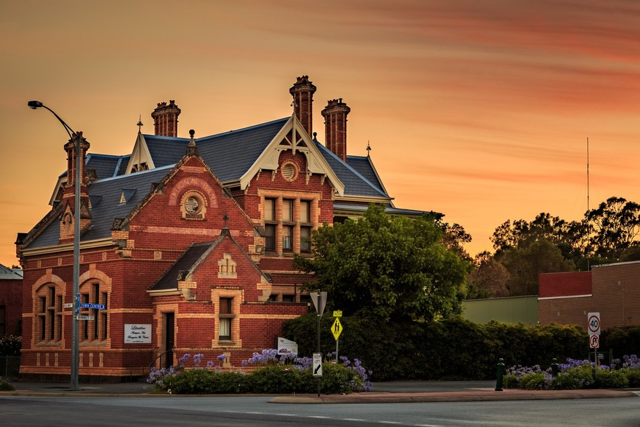 The old National Bank in Euroa at Sunrise