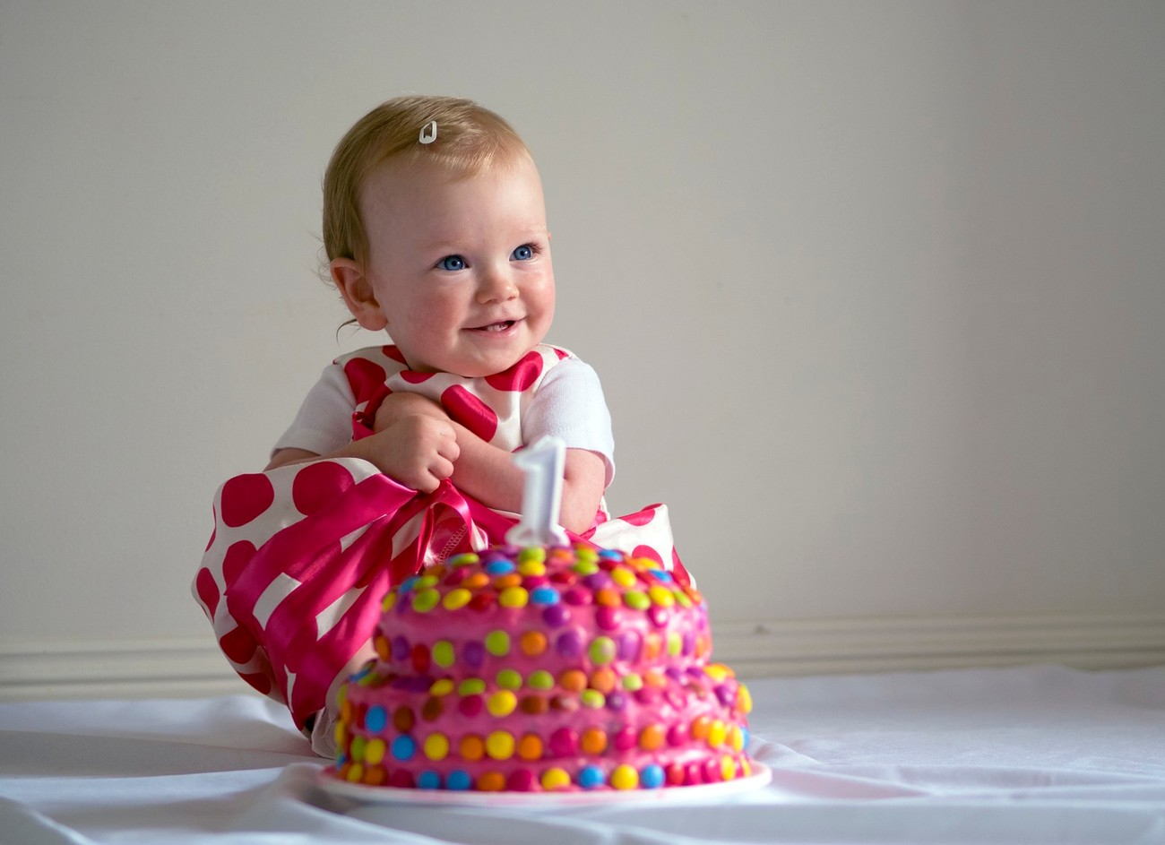 When you are happy about your first birthday cake