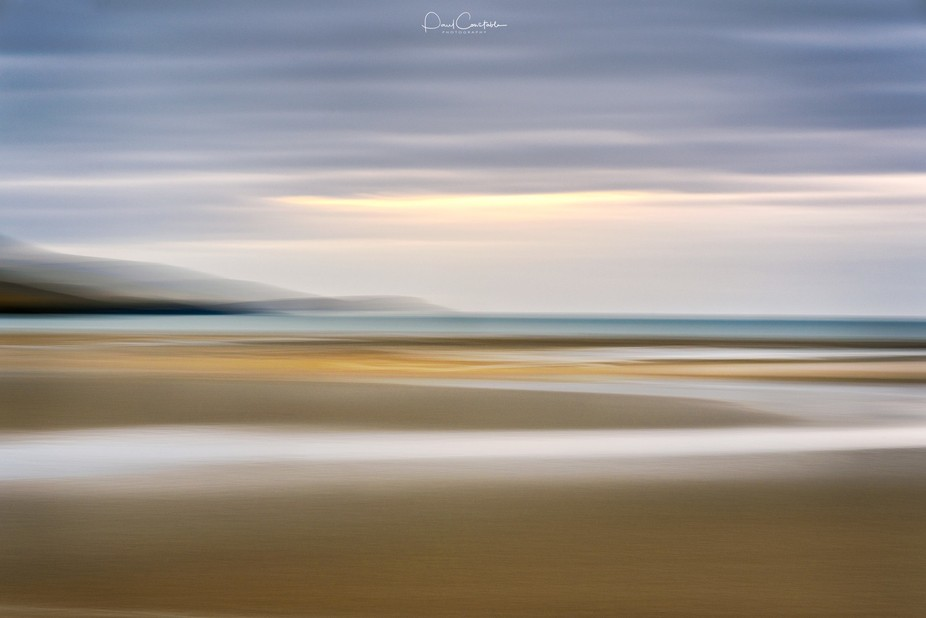 Intentional camera movement during the exposure was used to create this image of Luskentyre bay o...