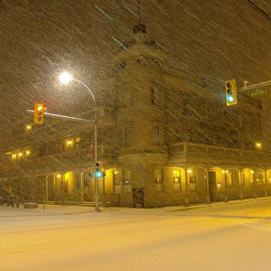"""Merritt"""" iconic hotel in a snowstorm."""