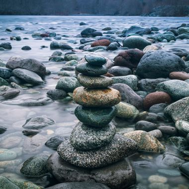Rainy afternoon made a hike to Cheakmus river. Found this peaceful spot decided to pile some rocks together and frame them in the shot.