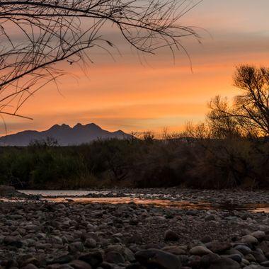 Four Peaks over the Salt River - Sunrise