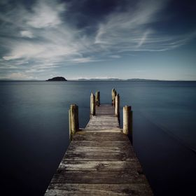 Motutere Jetty in New Zealand Largest Lake Taupo