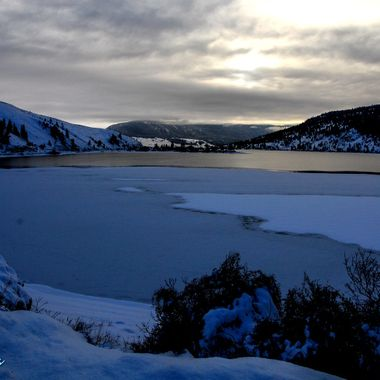 A sunset shot of Nicola Lake in Winter