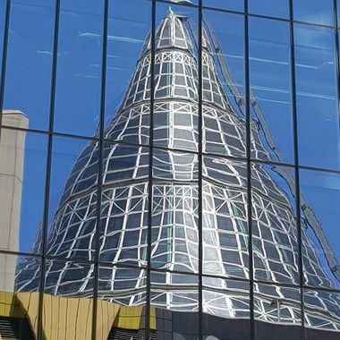 Melbourne Central's glass spire over the Shot Tower.