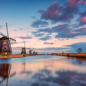 Colorful sunset at the Windmills of Kinderdijk