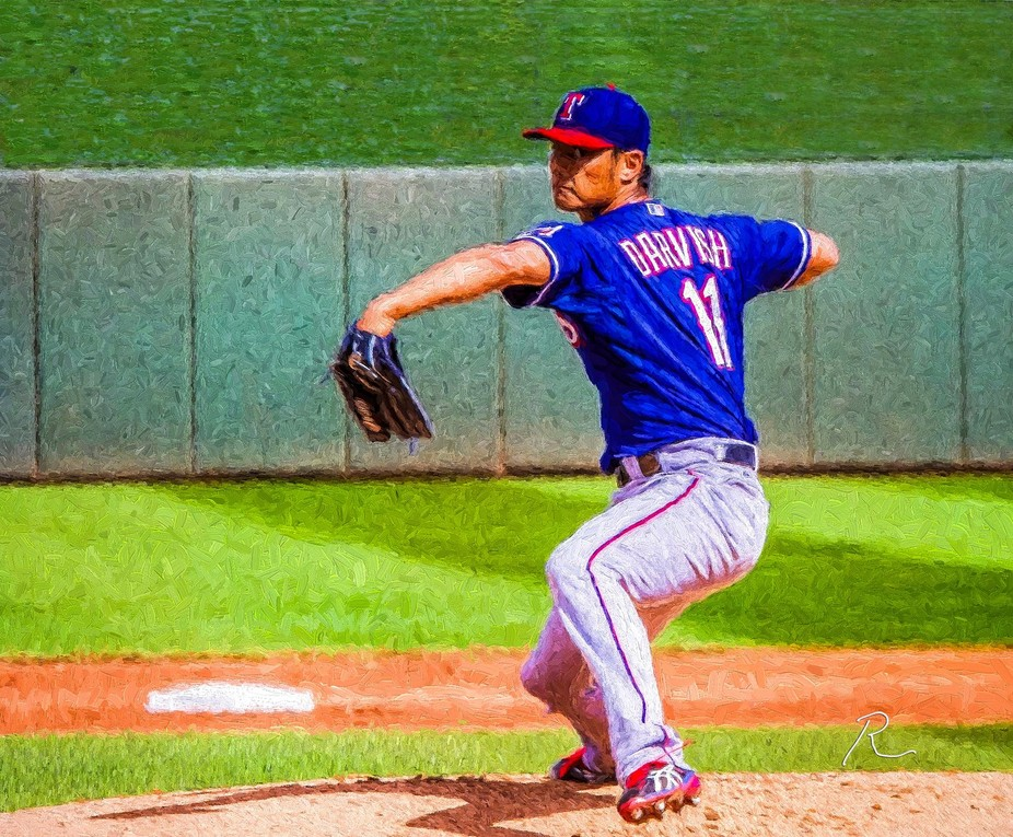 A digital painting I made based on a photograph I captured of Yu Darvish when he was pitcher for ...