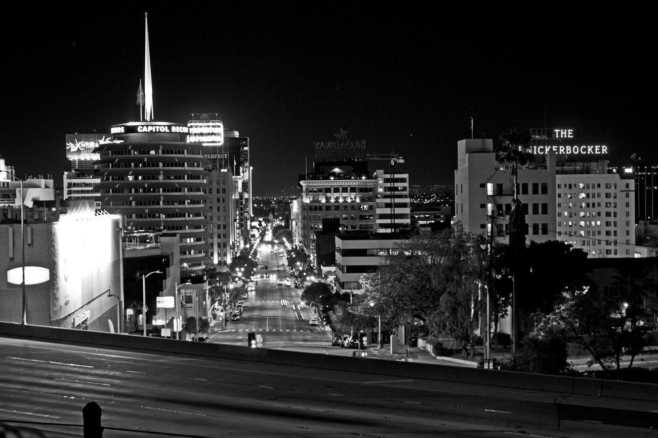 Capitol Records at Night - B & W