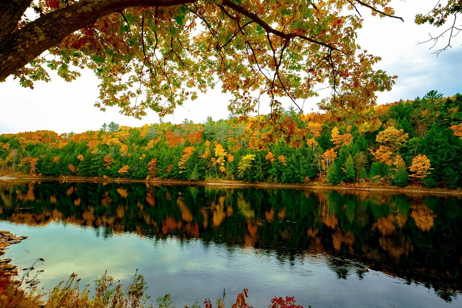 New England fall leaves reflecting on a lake.