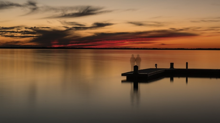 Long exposure meant to be lonely single person. However the person moved just enough to make it l...