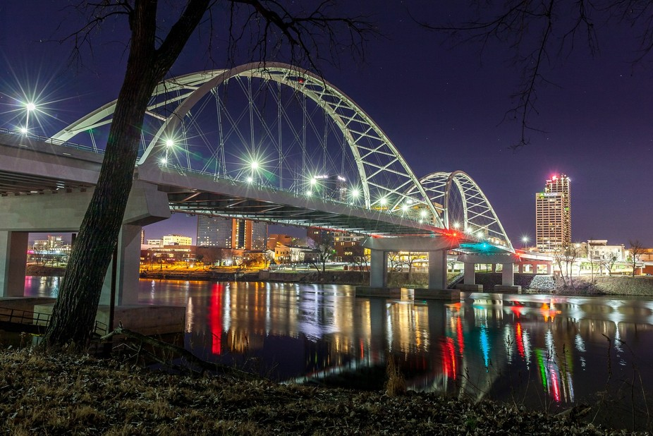 The new Broadway Bridge spanning the Arkansas River, connecting Little Rock and North Little Rock...