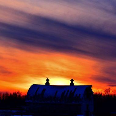 Sunset over old barn South of Roger's Corner 2 3 18 Nikon D3400 super vivid