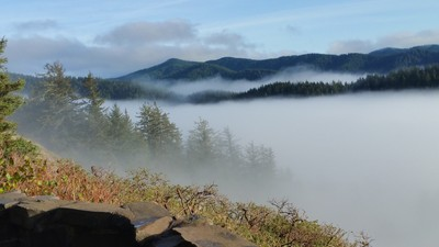 Mountain Ridges Filled With Fog, Oregon Central Coast