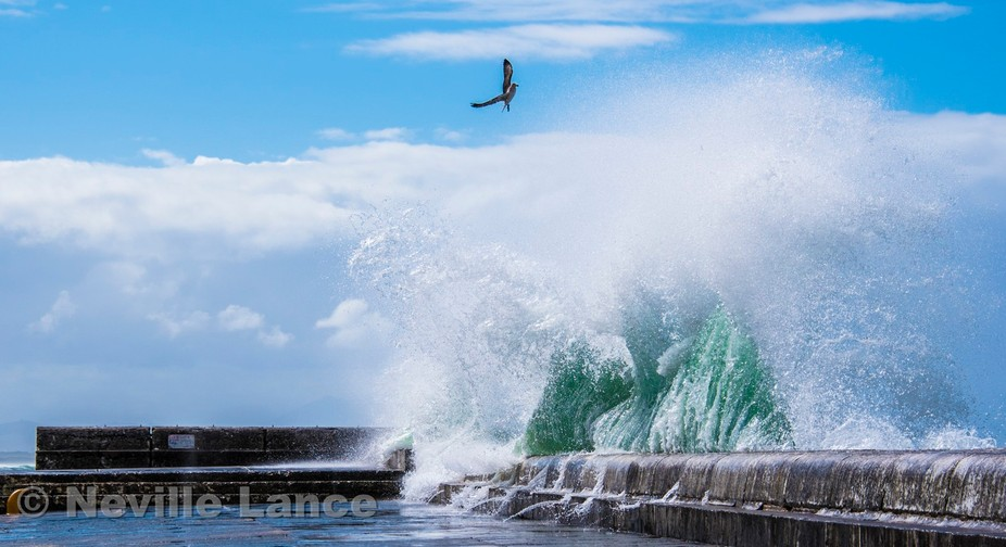 When seas build after a storm in False Bay south of Cape Town, huge breaking waves can be seen cr...