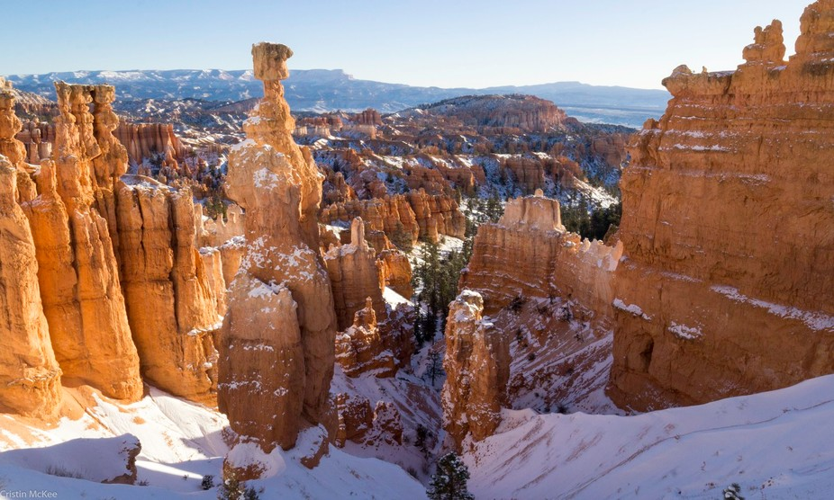 Bryce Canyon, Utah, Thor's Hammer. The day after a snowstorm just before sunrise.