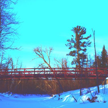 Snowmobile bridge over the Rat Root River just before sunset facing north Nikon D3400 SV