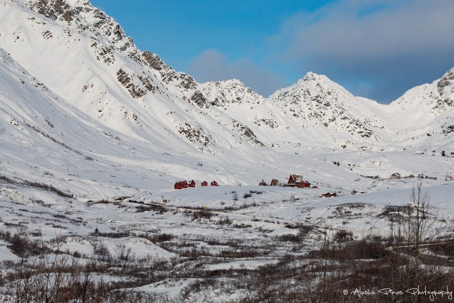 These are little cabins you can rent in the Hatcher Pass Recreation Area, just a short distance away from Independence Mine. The mine was a huge producer of gold, and you can still find flakes and mini nuggets in the river that flows during the summer.
