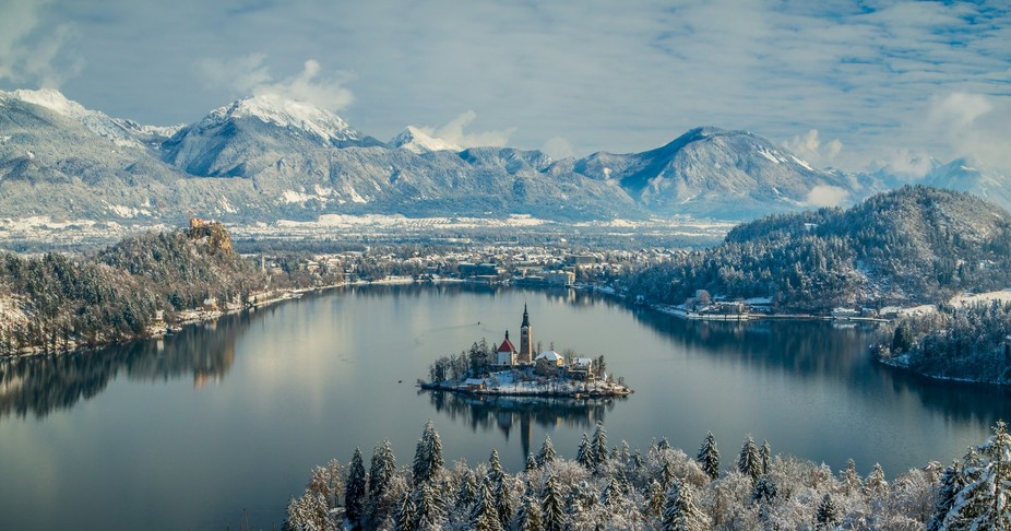 View to snowy morning over Bled lake.