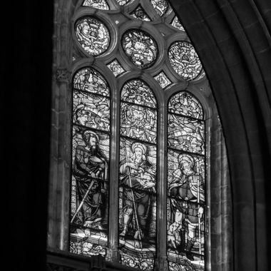 church window from Seville, Spain in black and white