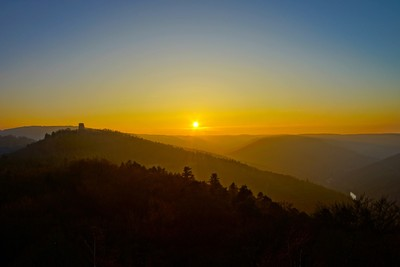Sunset in Vosges mountains colorful view, Alsace, France